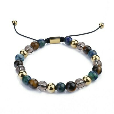 Stainless Steel Bead With Natural Stone Bracelet