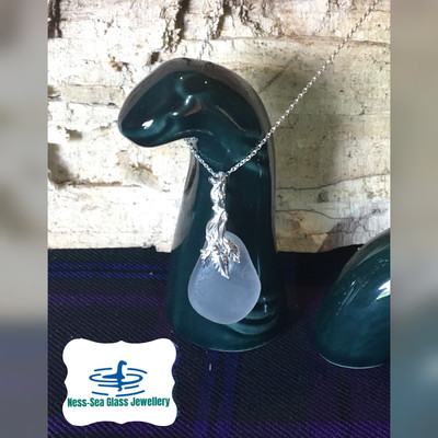 Clear White Loch Ness Sea Glass Necklace with Sterling Silver Decorative design and Fine Sterling Silver Chain