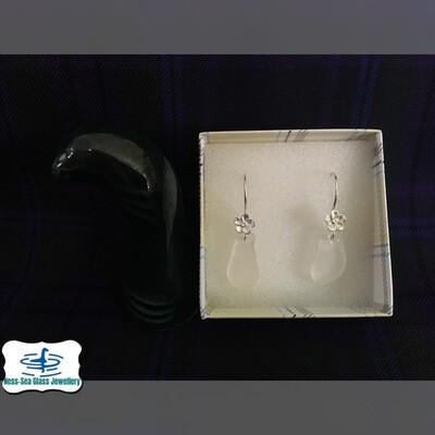 Clear Loch Ness Sea Glass Hook Earrings with Sterling Silver Flower design