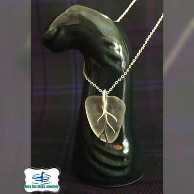 Clear Loch Ness Sea Glass Necklace with Sterling Silver Branch Detail and Fine Sterling Silver Chain