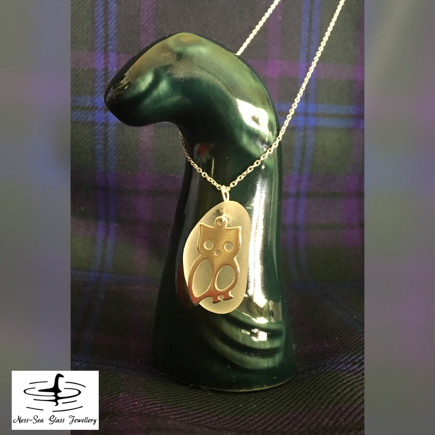 Clear Loch Ness Sea Glass Necklace with Sterling Silver Owl design and Sterling Silver Chain