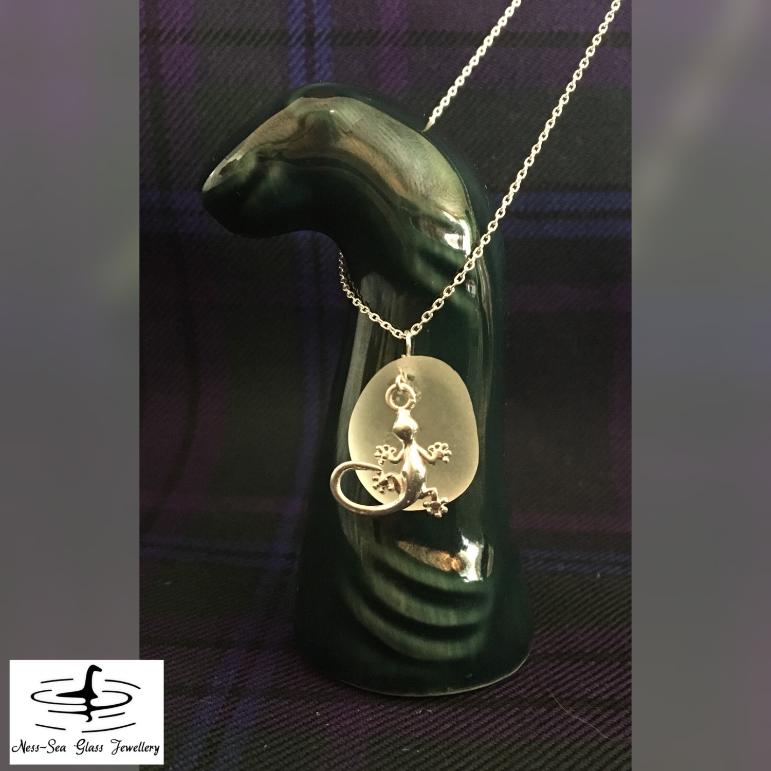 Clear Loch Ness Sea Glass Necklace with Sterling Silver Gecko design and Sterling Silver Chain