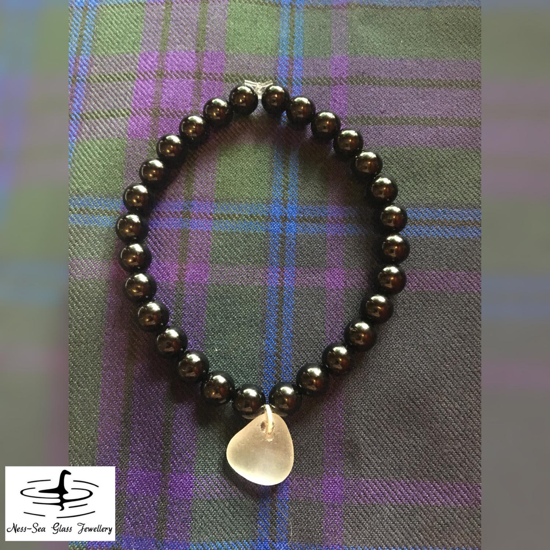 Clear Loch Ness Sea Glass Black Onyx Gemstone Bead Bracelet