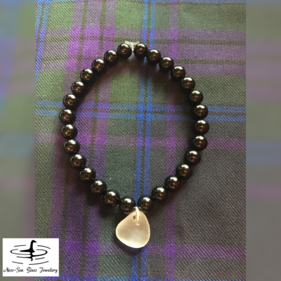 Clear Loch Ness Sea Glass Black Onyx Gemstone Bead Bracelet