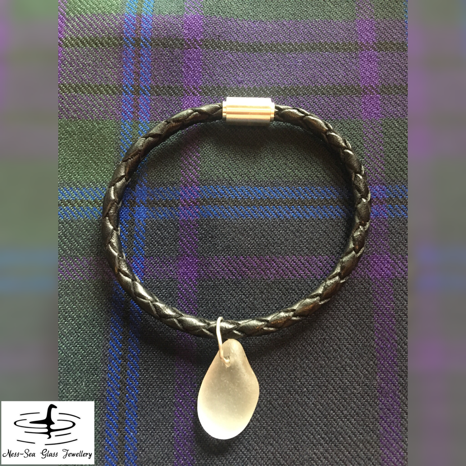 Clear Loch Ness Sea Glass Braided Leather Magnetic Clasp Bracelet