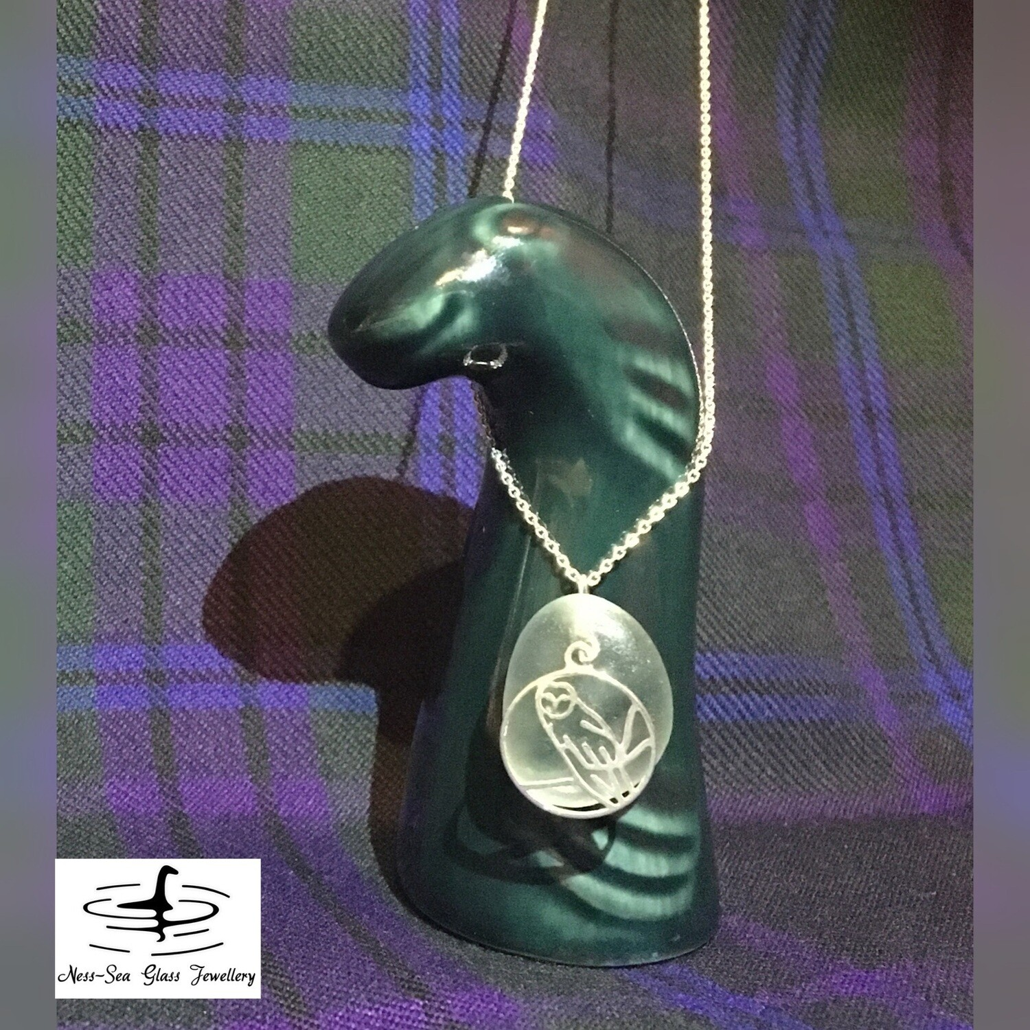 Pale Blue Loch Ness Sea Glass Necklace with Sterling Silver Owl design and Fine Sterling Silver Chain