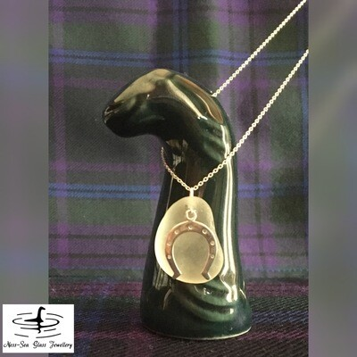 Clear Loch Ness Sea Glass Necklace with Sterling Silver Horseshoe detail and Fine Sterling Silver Chain
