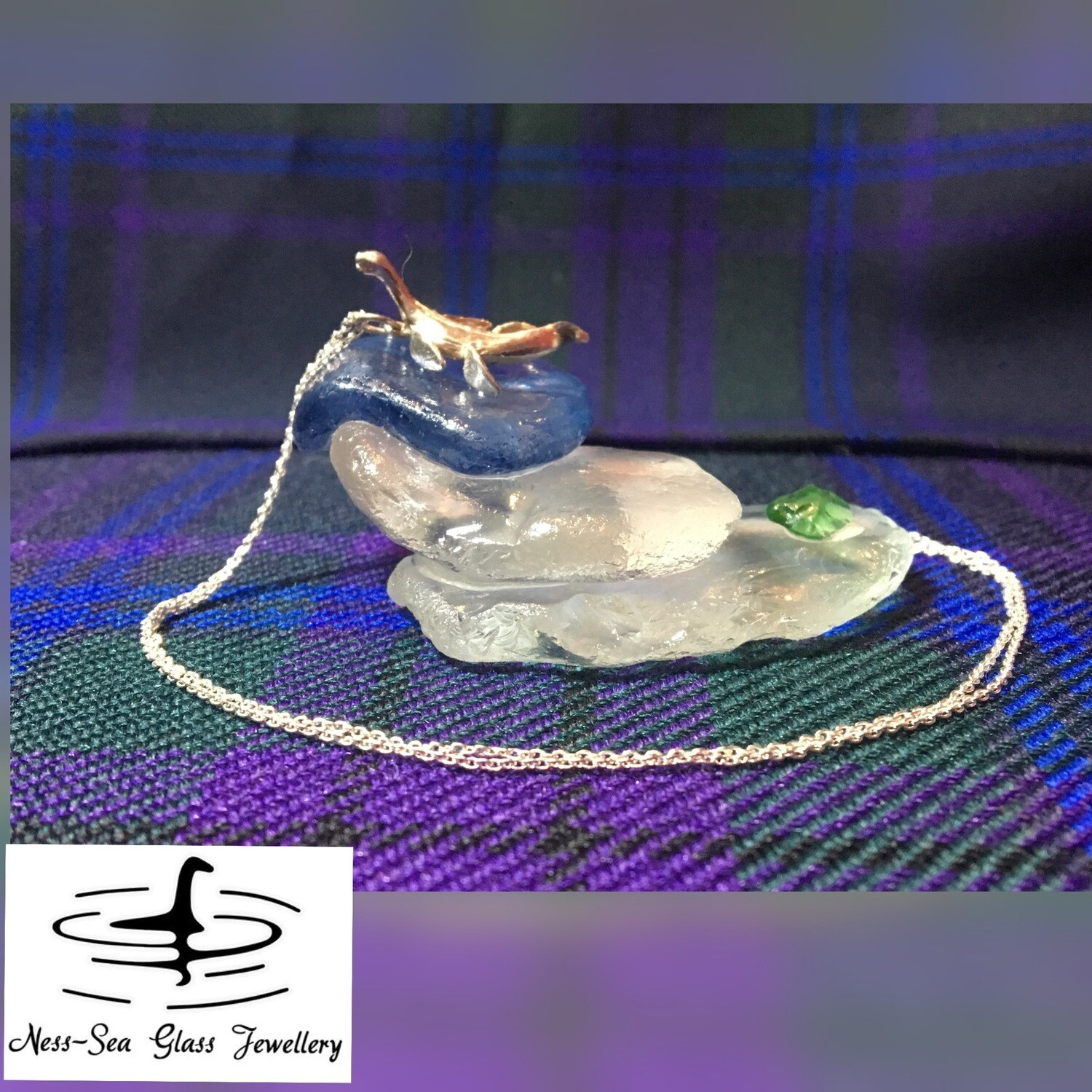 Loch Ness Sea Glass Ornamental Stand with Sterling Silver Nessie Necklace