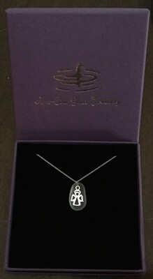 Loch Ness Sea Glass Necklace with Sterling Silver Angel design and Fine Sterling Silver Chain