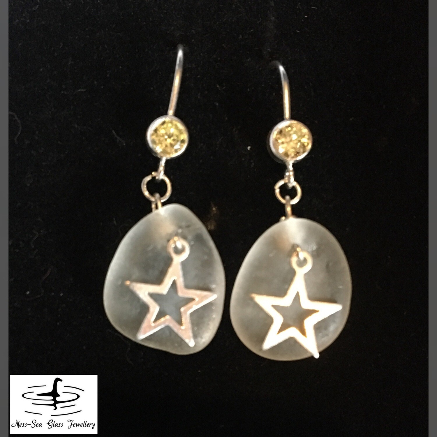 Clear Loch Ness Sea Glass Earrings with Lime Green Cubic Zirconia design and Sterling Silver Stars