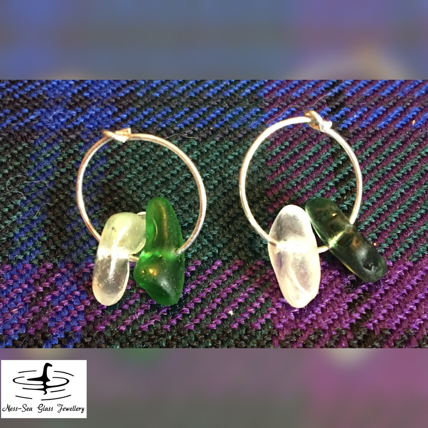 Clear and Green Loch Ness Sea Glass Sterling Silver Hoop Earrings