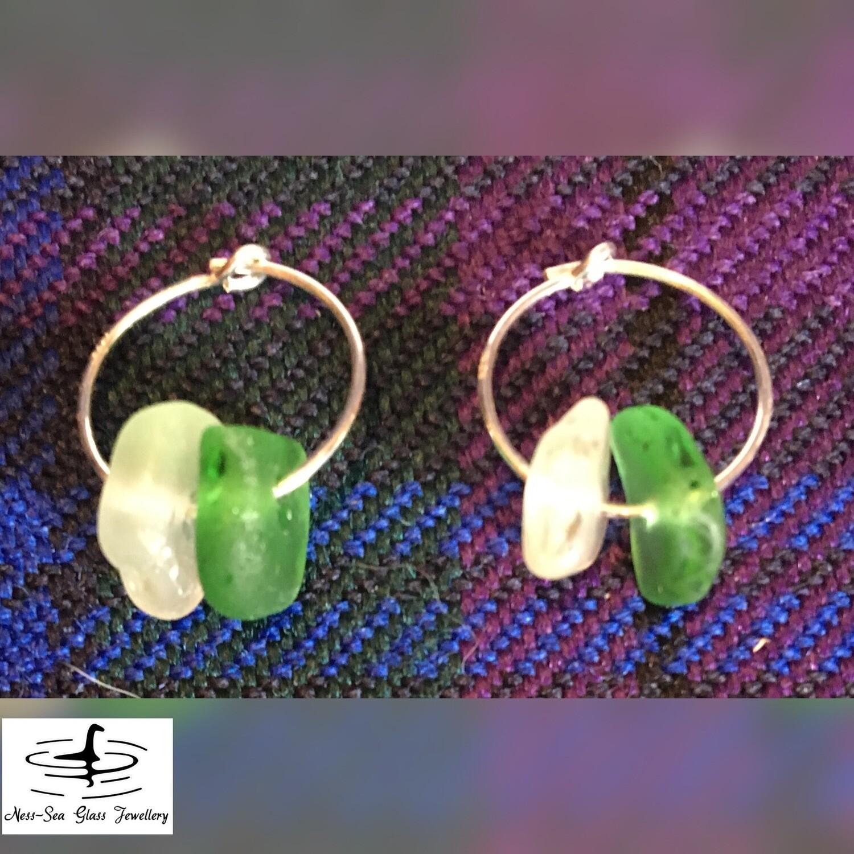 Clear and Green Loch Ness Sea Glass Sterling Silver Hoop Earrings