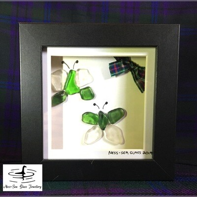 Loch Ness Sea Glass Box Framed Butterflies Picture