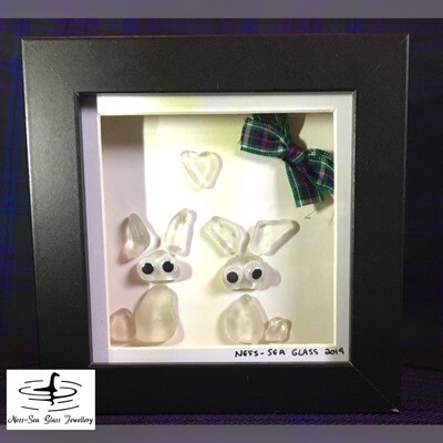 Loch Ness Sea Glass Box Framed Bunnies and Heart with Tartan Ribbon Picture