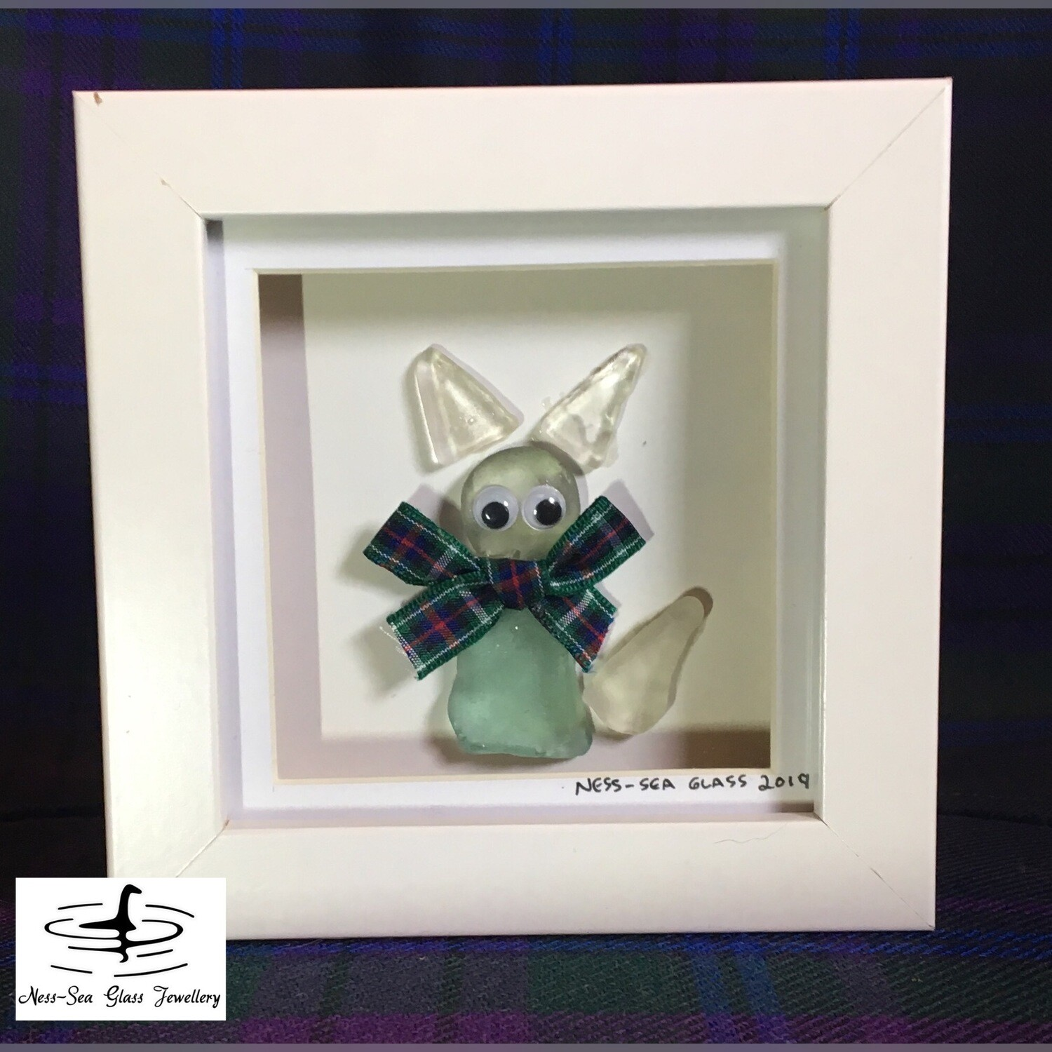 Loch Ness Sea Glass Box Framed Cat with Tartan Ribbon Picture