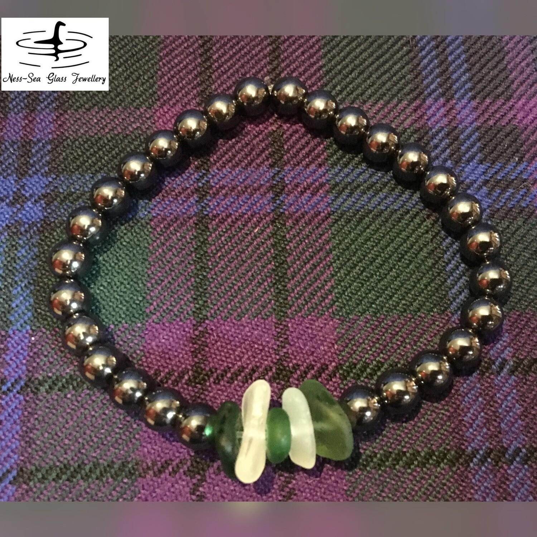 Multi Loch Ness Sea Glass Black Hematite Gemstone Bead Bracelet