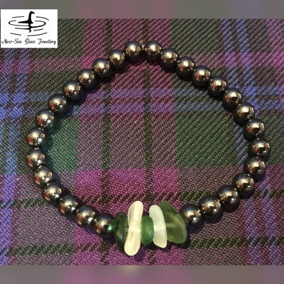 Multi Loch Ness Sea Glass Black Hematite Gemstone Bead Bracelet