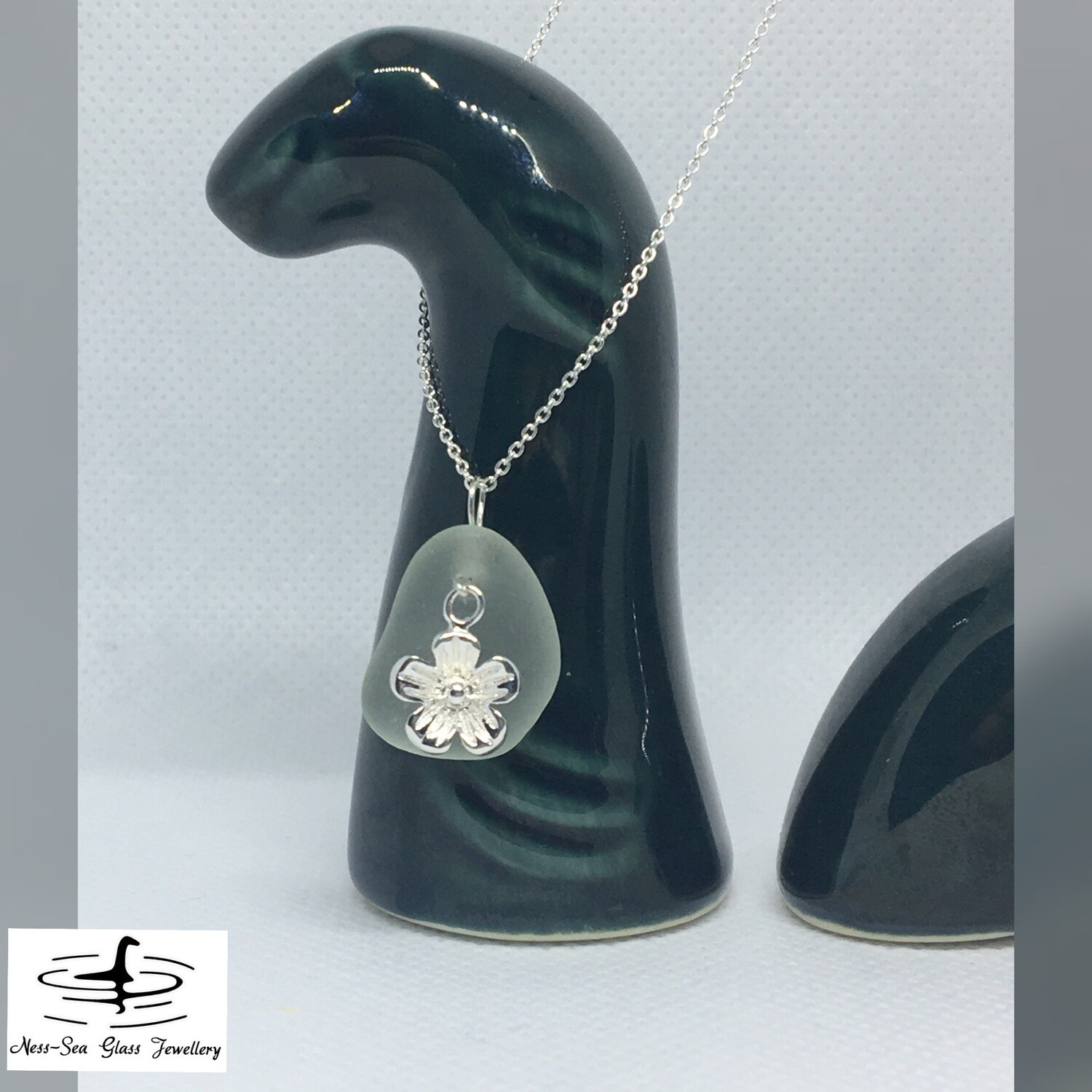 Blue Loch Ness Sea Glass Necklace with Sterling Silver Flower Detail and Fine Sterling Silver Chain
