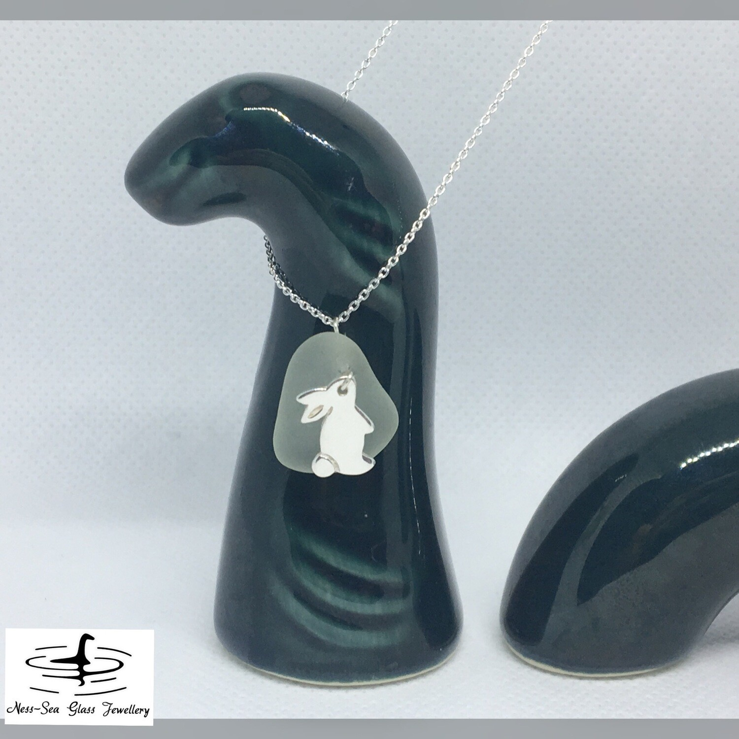 Blue Loch Ness Sea Glass Necklace with Sterling Silver Rabbit Detail and Fine Sterling Silver Chain