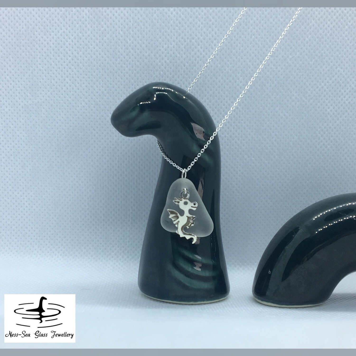 Clear Loch Ness Sea Glass Necklace with Sterling Silver Dragon Detail and Fine Sterling Silver Chain
