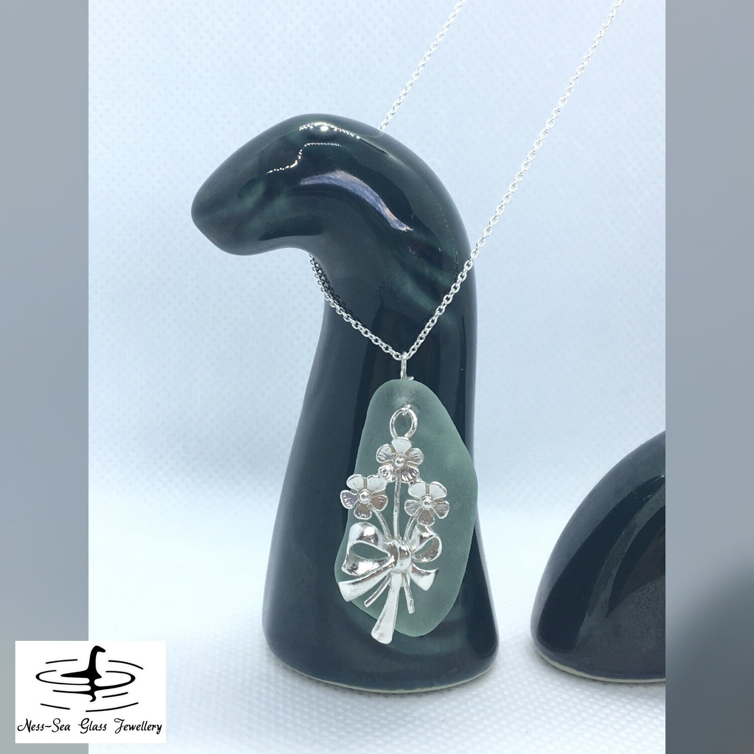 Blue Loch Ness Sea Glass Necklace with Sterling Silver Bunch of Flowers Detail and Fine Sterling Silver Chain