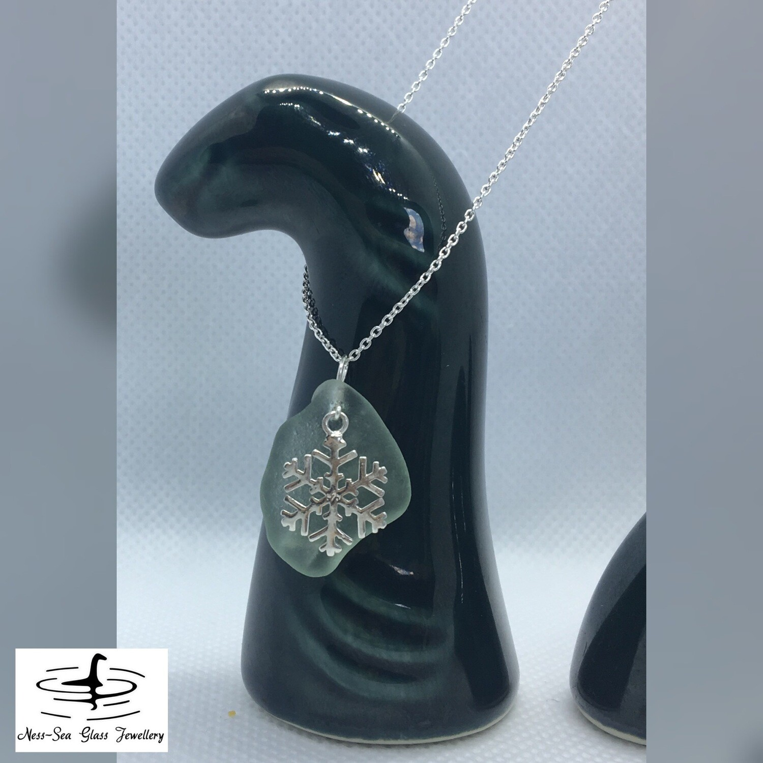 Blue Loch Ness Sea Glass Necklace with Sterling Silver Snowflake Detail and Fine Sterling Silver Chain