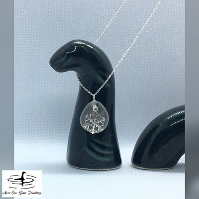 Clear Loch Ness Sea Glass Necklace with Sterling Silver Snowflake and Fine Sterling Silver Chain - Scottish seaglass Pendant