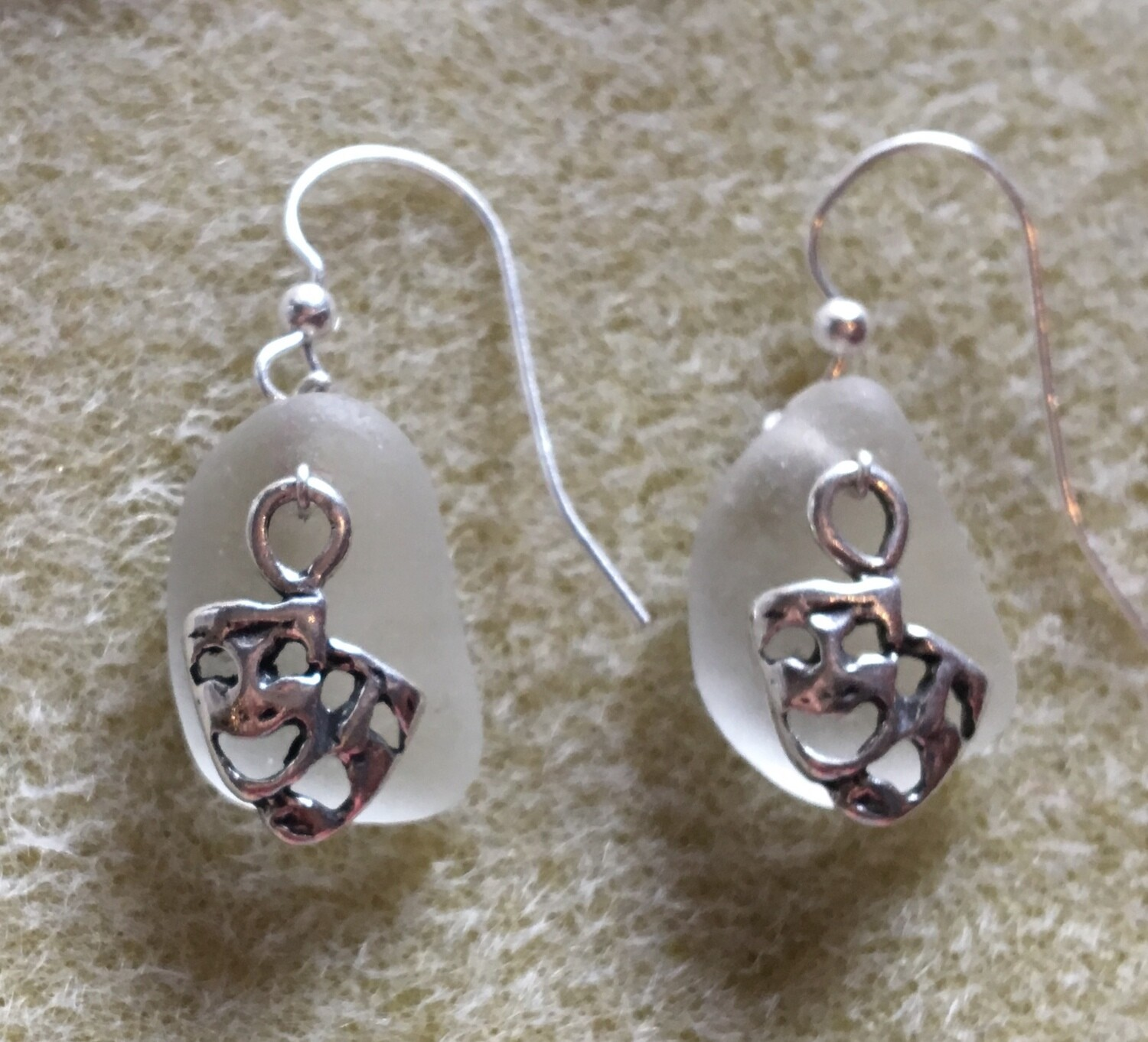 Loch Ness Sea Glass Earrings with Sterling Silver Mask charms