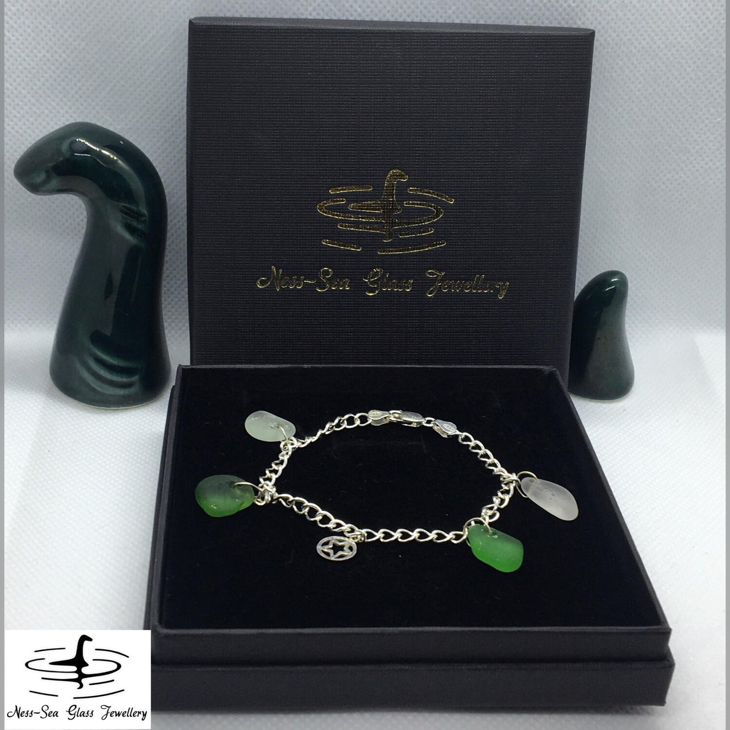 Clear, light blue and Green Loch Ness Sea Glass Sterling Silver Charm Bracelet with Star Charm