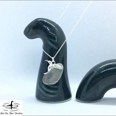 Clear Loch Ness Sea Glass Necklace with Sterling Silver Hummingbird detail and Fine Sterling Silver Chain