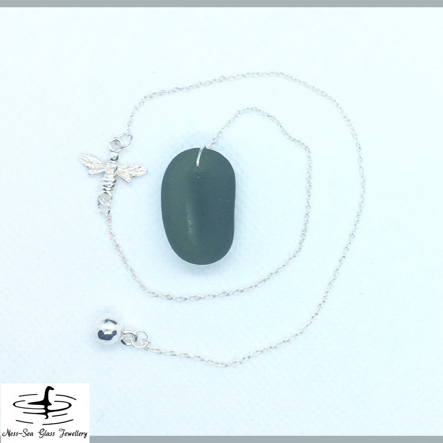 Green Loch Ness Sea Glass Dowsing Pendulum with Sterling Silver Bee design and Sterling Silver Chain