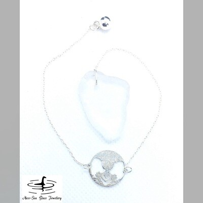 Clear Loch Ness Sea Glass Dowsing Pendulum with Sterling Silver Buddha design and Sterling Silver Chain