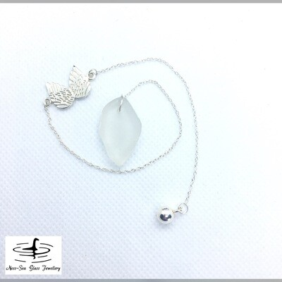 Clear Loch Ness Sea Glass Dowsing Pendulum with Sterling Silver Angel Wings design and Sterling Silver Chain