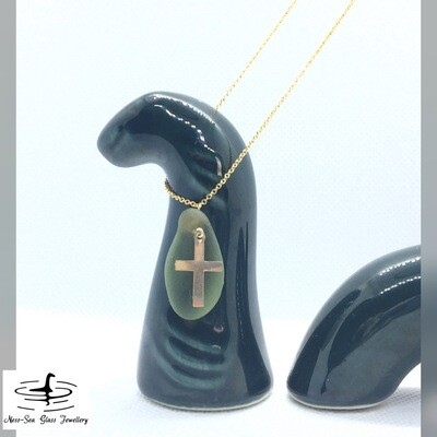 Green Loch Ness Sea Glass Necklace 14k Gold Filled Cross Charm and 14k Gold Filled Fine Cable Chain