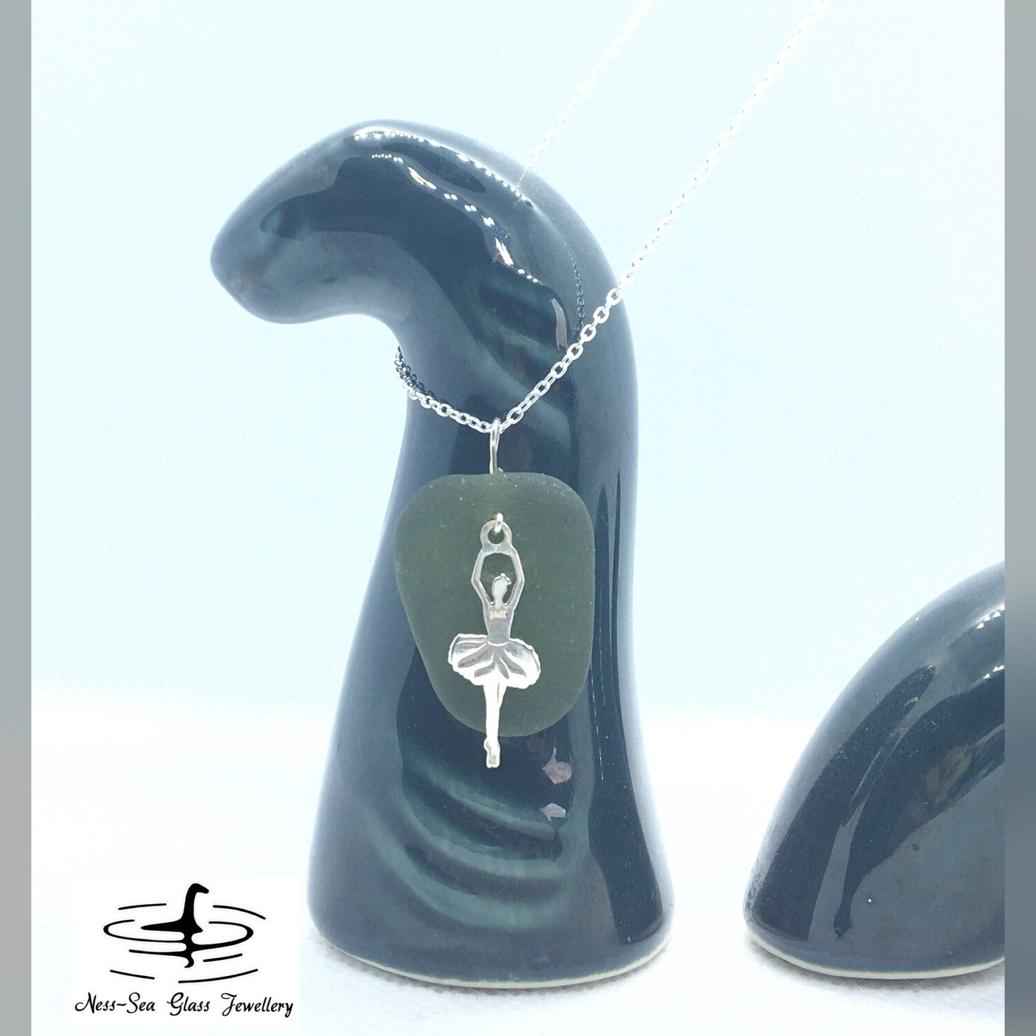 Green Loch Ness Sea Glass Necklace with Sterling Silver Ballet Dancer Detail and Fine Sterling Silver Chain
