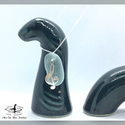 Blue Loch Ness Sea Glass Necklace with Sterling Silver Musical Treble Clef Charm and Fine Sterling Silver Chain
