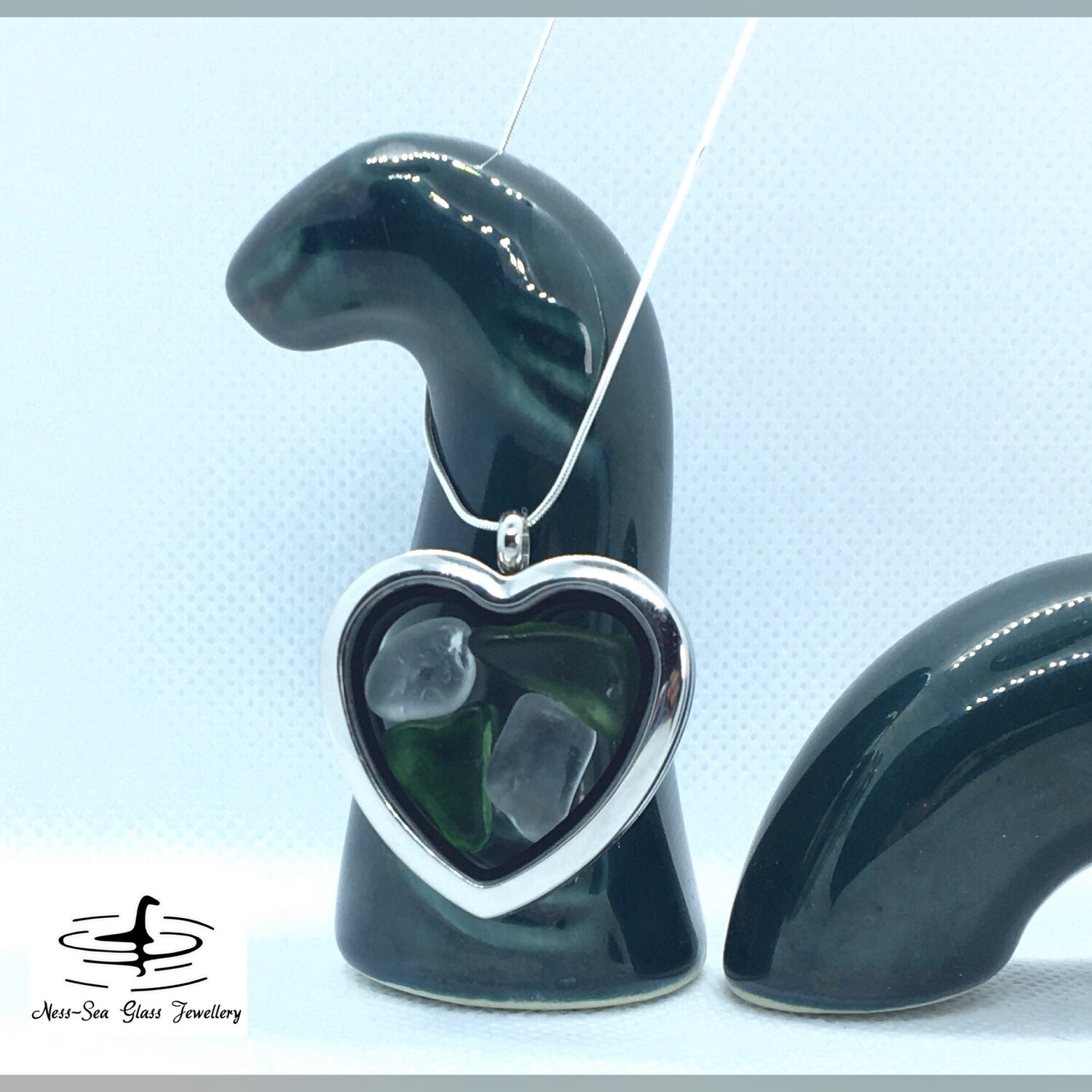 Loch Ness Sea Glass Stainless Steel Heart Shaped Floating Locket Necklace with Sterling Silver Snake Chain
