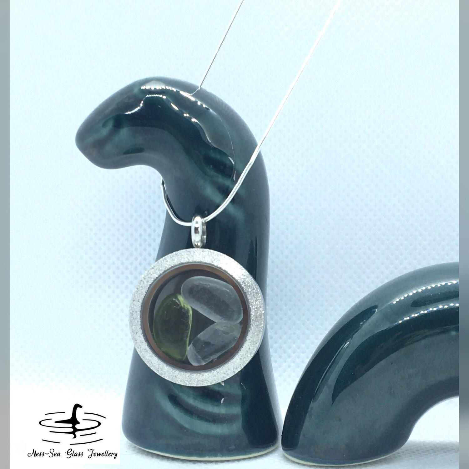 Loch Ness Sea Glass Stainless Steel Shimmer Floating Locket Necklace with Sterling Silver Snake Chain