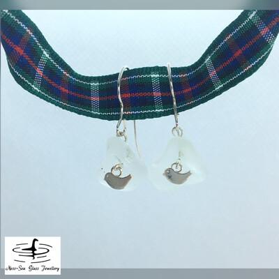 Clear Loch Ness Sea Glass Sterling Silver Bird Hook Earrings