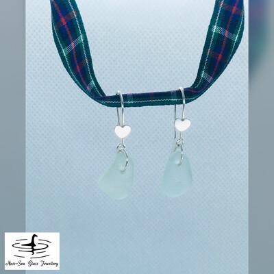 Blue Loch Ness Sea Glass Sterling Silver Hook Earrings with Heart Detail.