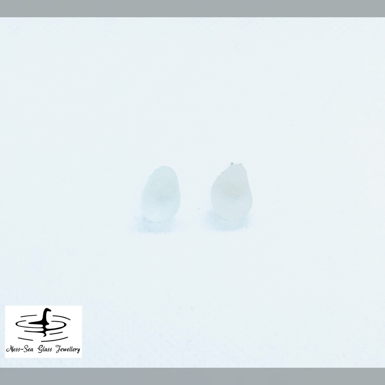 Clear Loch Ness Sea Glass Sterling Silver Stud Earrings