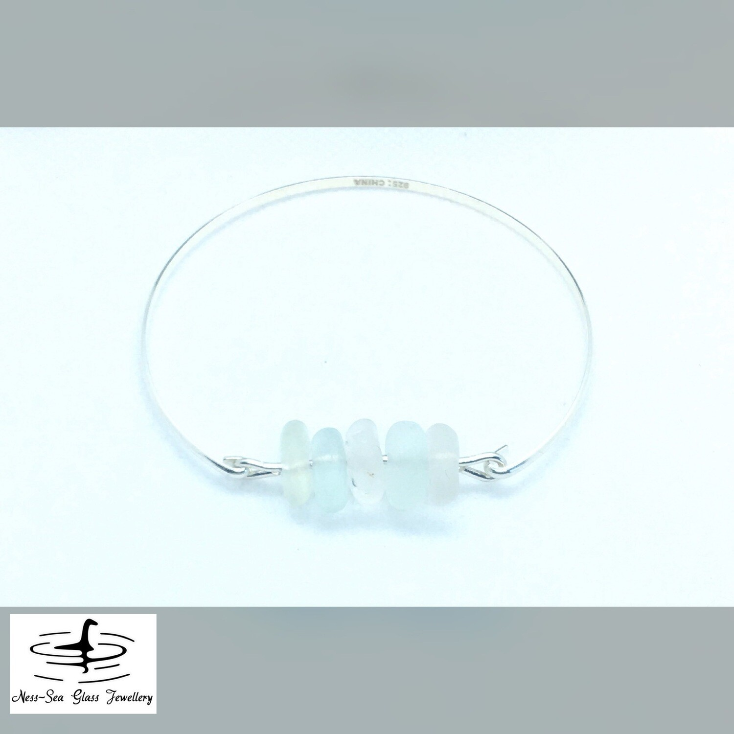 Clear, Blue and Green Loch Ness Sea Glass Sterling Silver Bracelet