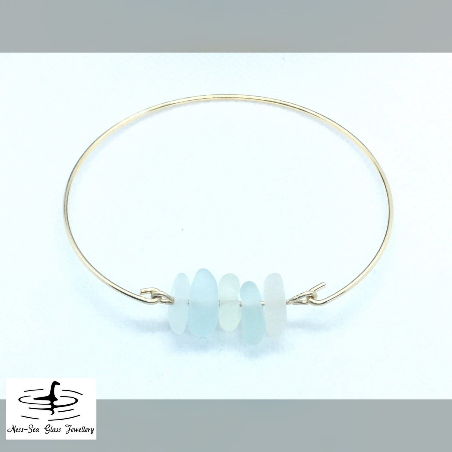 Clear, Blue and Green Loch Ness Sea Glass 14k Gold Filled Bracelet