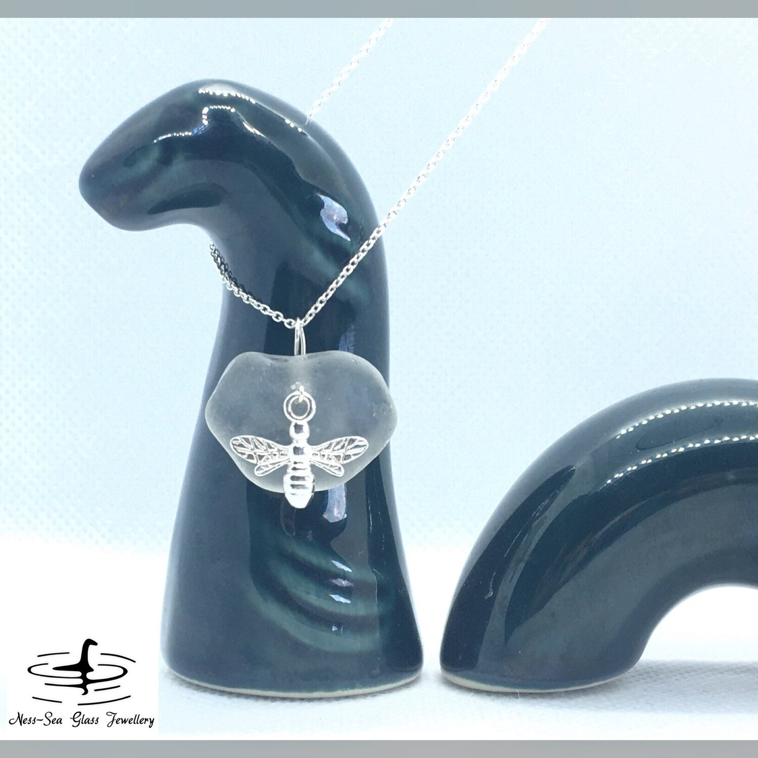 Clear Loch Ness Sea Glass Necklace with Sterling Silver Bee Detail and Fine Sterling Silver Chain