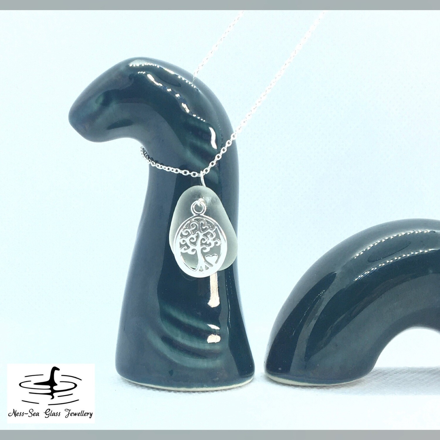 Clear Loch Ness Sea Glass Necklace with Sterling Silver Tree with Heart Detail and Fine Sterling Silver Chain