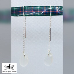 Clear Loch Ness Sea Glass Sterling Silver Threader Earrings