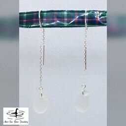 Clear Loch Ness Sea Glass Sterling Silver Threader Earrings