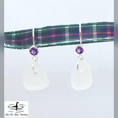 Clear Loch Ness Sea Glass Sterling Silver Amethyst Gemstone Hook Earrings