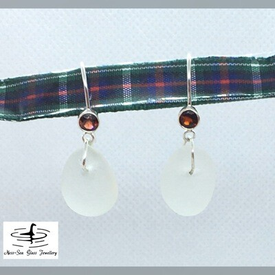 Clear Loch Ness Sea Glass Sterling Silver Garnet Gemstone Hook Earrings