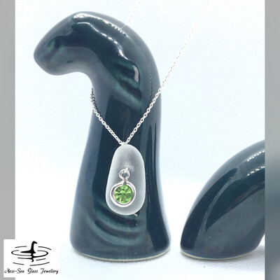 AUGUST - Clear Loch Ness Sea Glass with Sterling Silver Peridot Charm and Fine Sterling Silver Chain Necklace